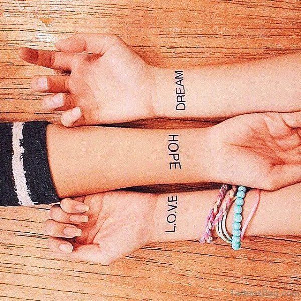 Love Hope Tattoo On Wrist