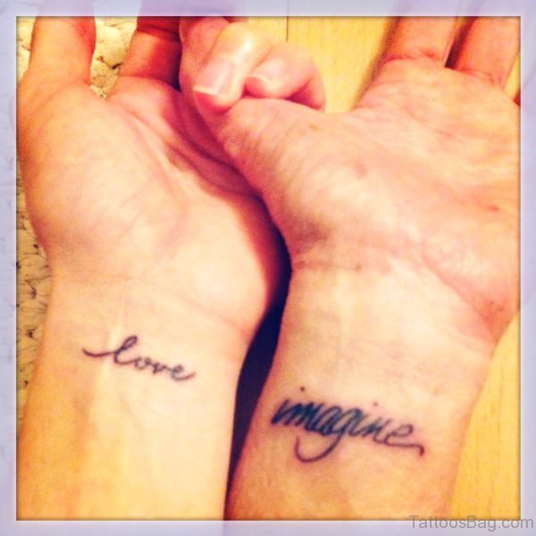Love Imagine Wrist Tattoo
