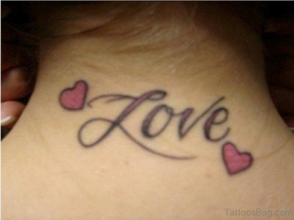 Love Word Tattoo On Neck 1