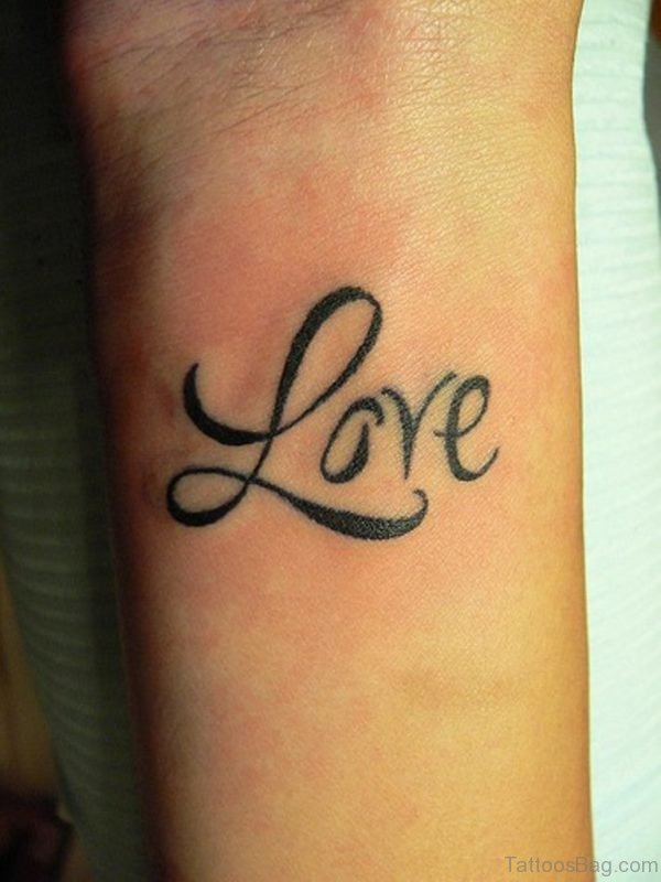 Love Word Tattoo On Wrist