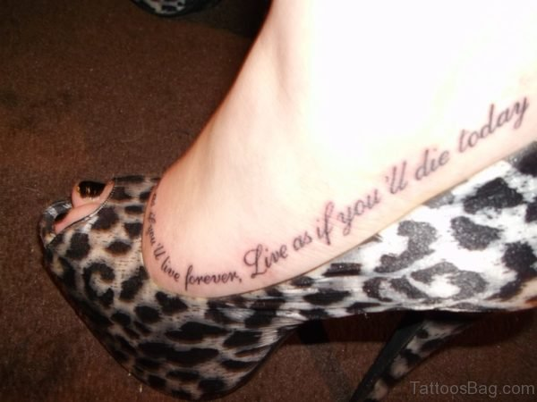 Love Wording Tattoo On Foot For Girls