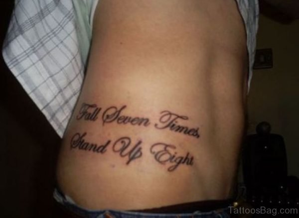 Love Wording Tattoo On Rib Side For Girls