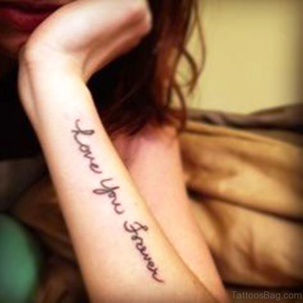 Love You Forever Tattoo On Wrist
