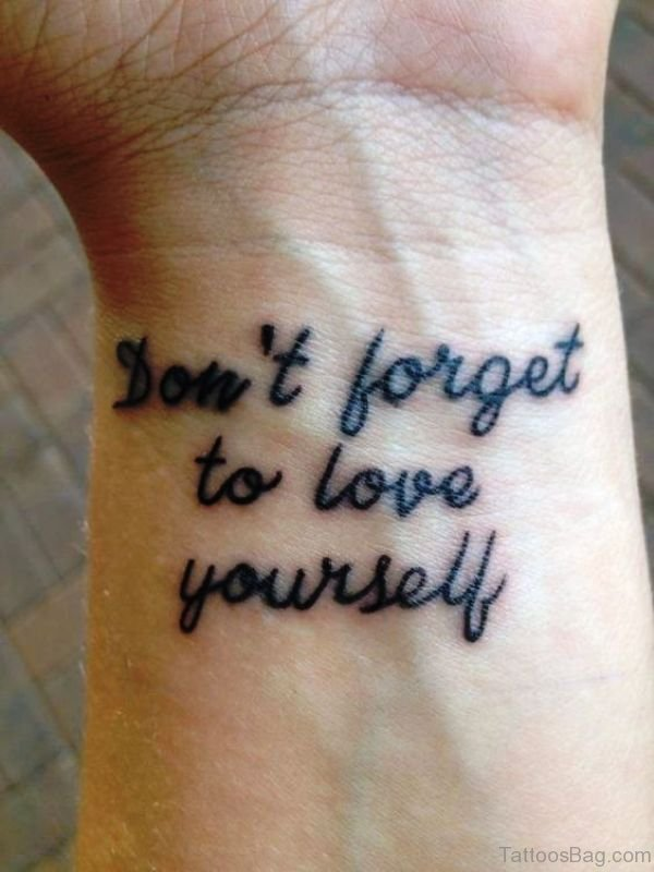 Love Yourself Word Tattoo