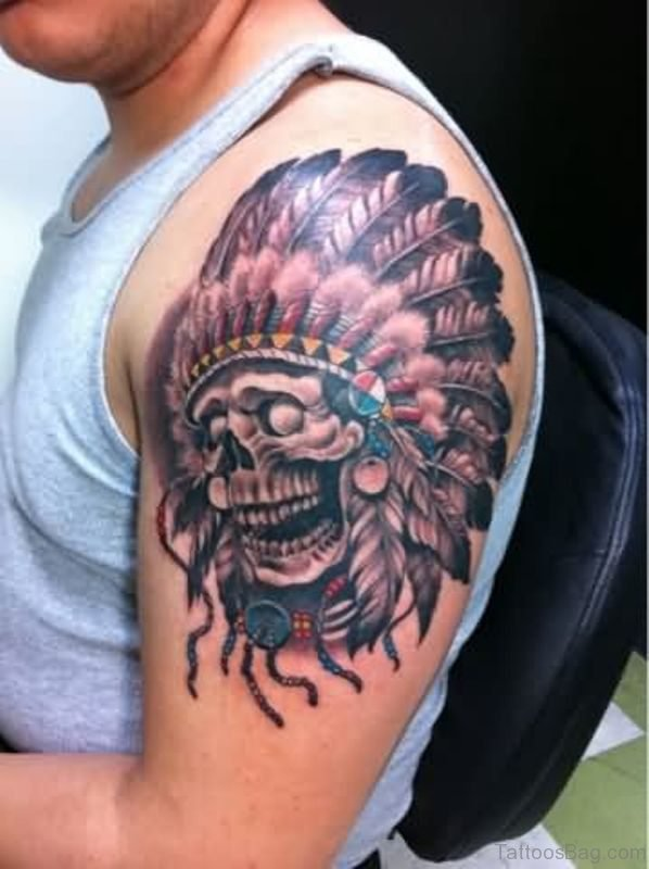 Lovely American Skull Tattoo