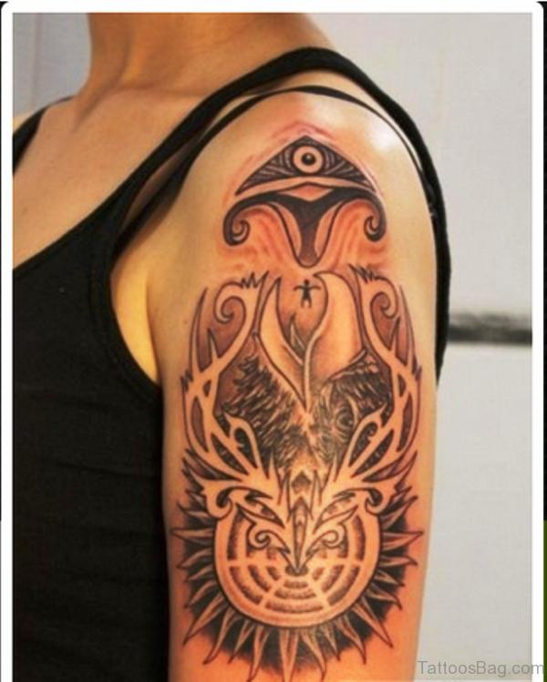 Lovely Aztec Shoulder Tattoo Design