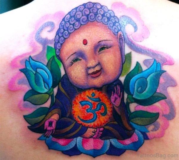 Lovely Baby Buddha Tattoo On Back
