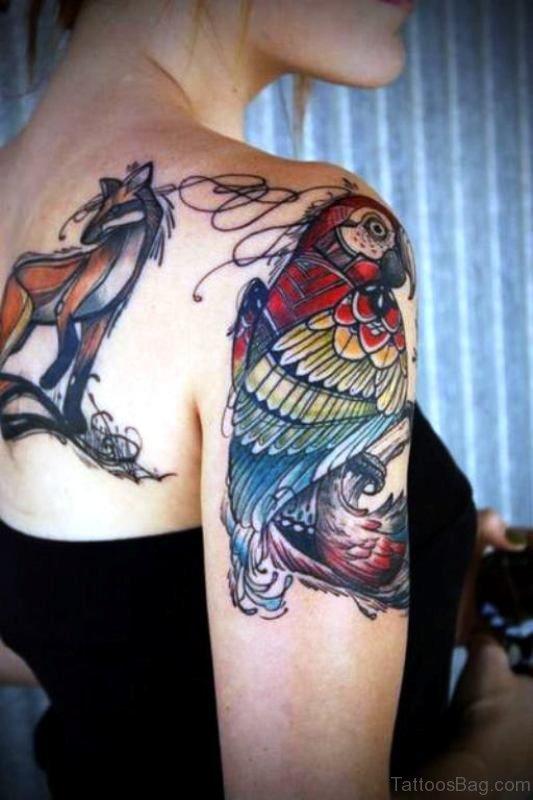 Lovely Bird Shoulder Tattoo Design