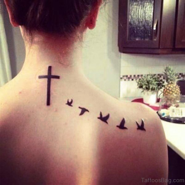 Lovely Birds And Cross Tattoo