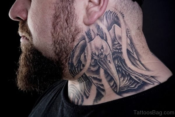 Lovely Black And Grey Tattoo On Neck