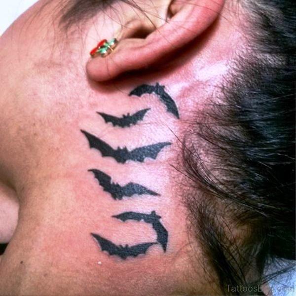 Lovely Black Bats Tattoo Behind Ears