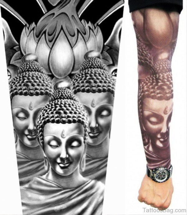 Lovely Buddha Tattoo Full Sleeve