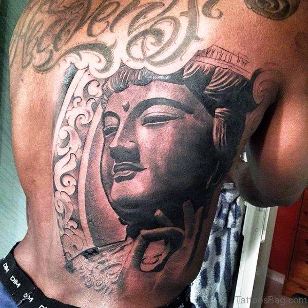Lovely Buddha Tattoo On Back
