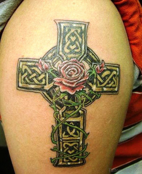 Lovely Celtic Cross Shoulder Tattoo Design