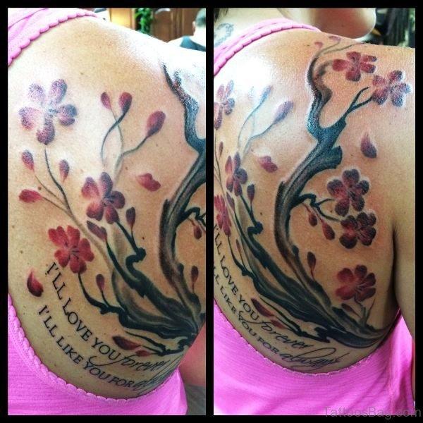 Lovely Cherry Blossom Flower Tattoo On Shoulder Back