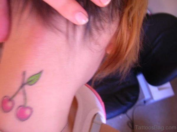 Lovely Cherry Tattoo On Neck