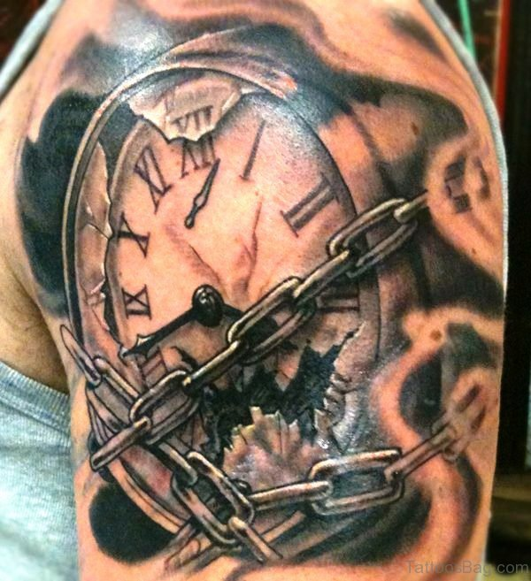 Lovely Clock Shoulder Tattoo