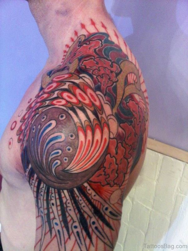 Lovely Colored Half Sleeves Shoulder Tattoo