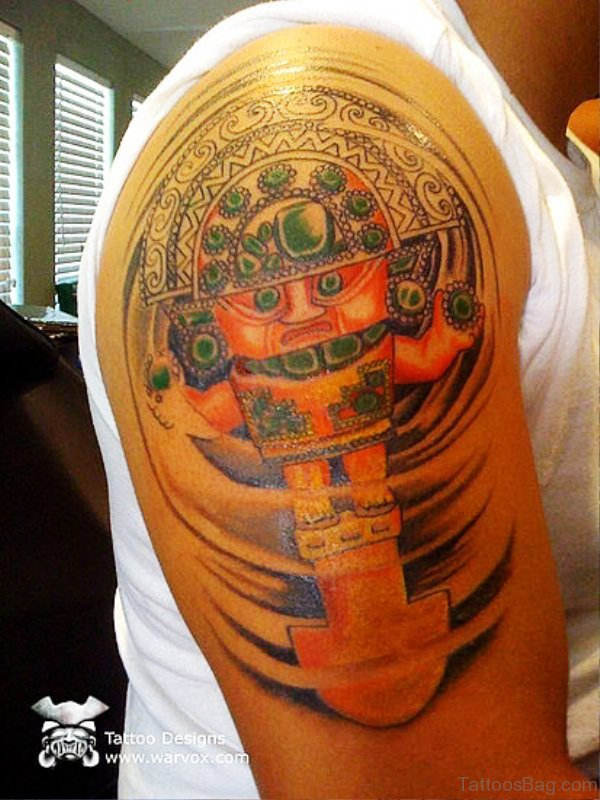 Lovely Colorful Shoulder Tattoo
