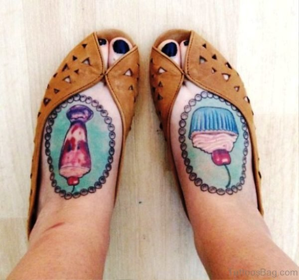 Lovely Cupcakes Tattoos On Feet