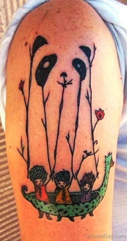 Lovely Designer Panda Shoulder Tattoo