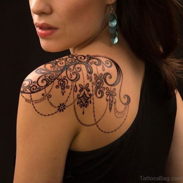 Lovely Designer Tattoo On Left Back
