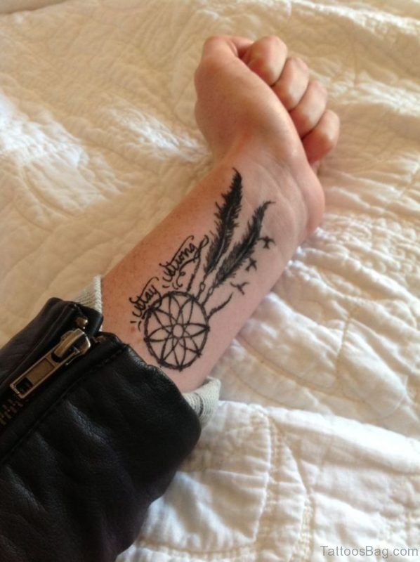 Lovely Dreamcatcher Tattoo On Wrist