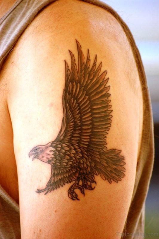 Lovely Eagle Tattoo On Left Shoulder