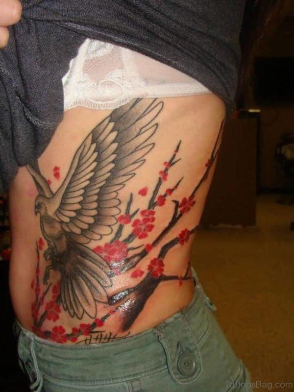 Lovely Eagle Tattoo On Rib