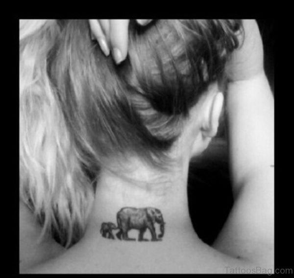 Lovely Elephant Tattoo On Neck