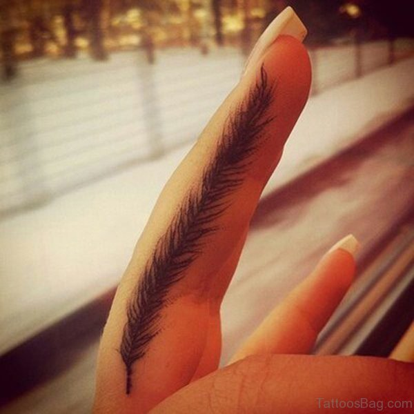 Lovely Feather Tattoo On Finger