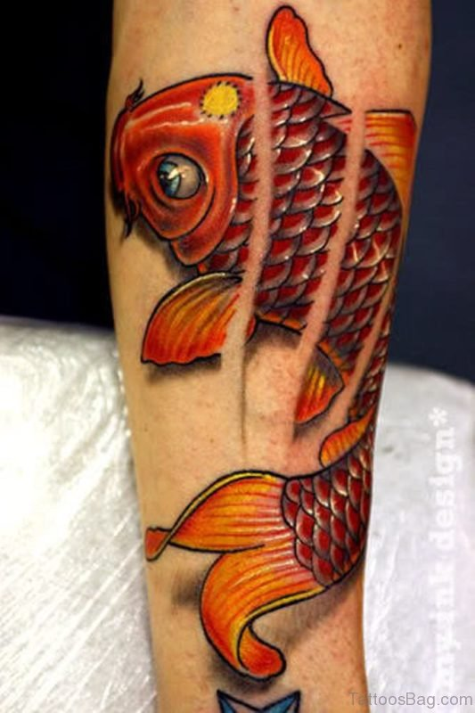 Lovely Fish Tattoo On Leg