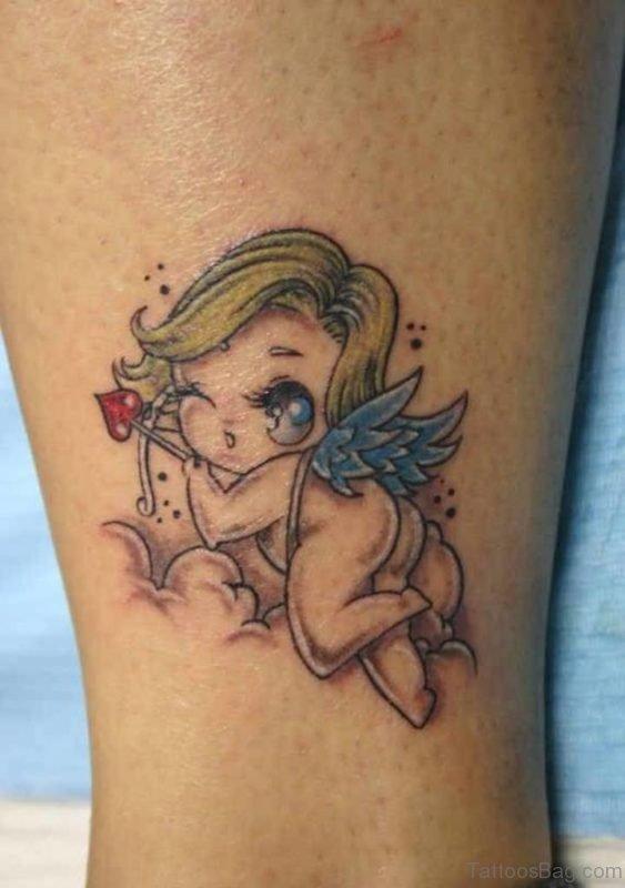 Lovely Flying Angel Baby Tattoo On Leg