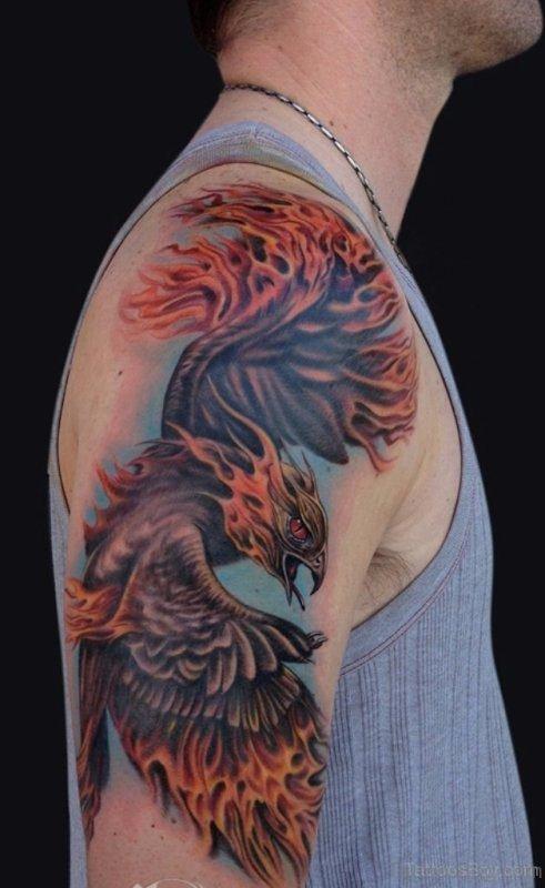 Lovely Flying Bird Shoulder Tattoo
