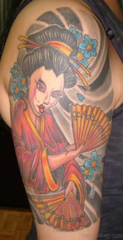 Lovely Geisha Ghost Tattoo On Shoulder