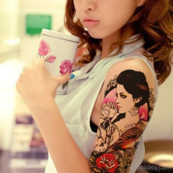 Lovely Geisha Tattoo On Shoulder