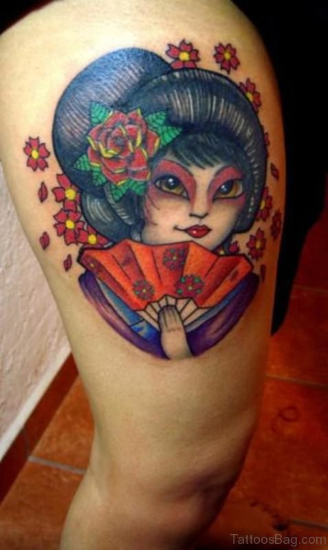 Lovely Geisha Tattoo On Thigh