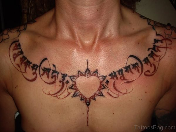 Lovely Heart Tattoo On Chest 1