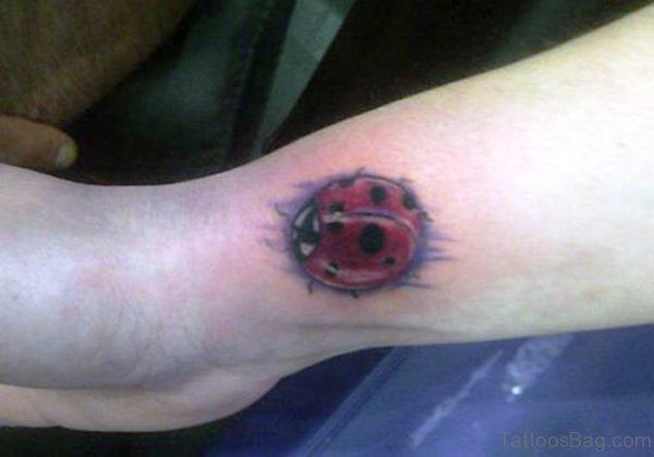 Lovely Ladybug Wrist Tattoo
