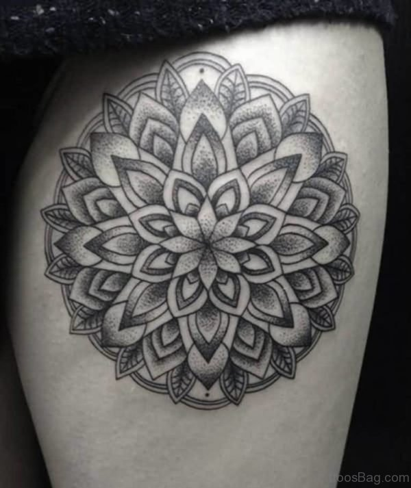 Lovely Mandala Flower Tattoo On Thigh