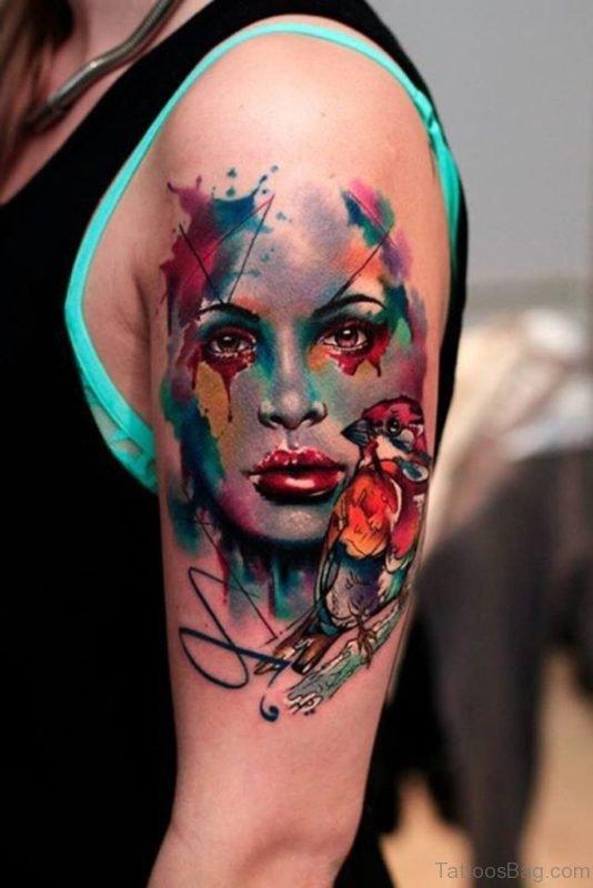Lovely Mask Tattoo For Shoulder