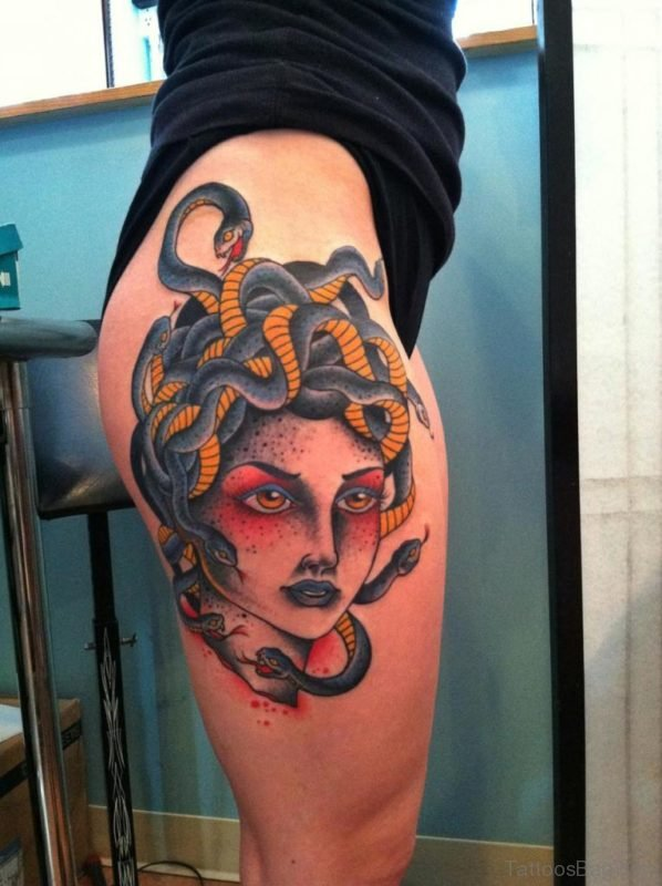 Lovely Medusa Tattoo On Thigh
