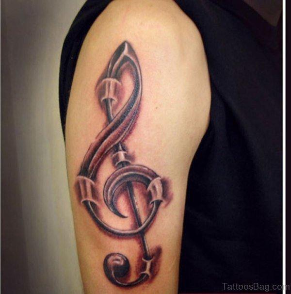 Lovely Music Tattoo Design On Right Shoulder