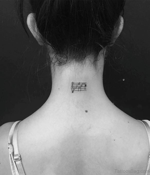 Lovely Music Tattoo On Neck