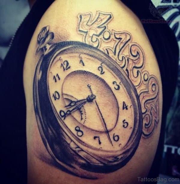 Lovely Musical Clock Shoulder Tattoo