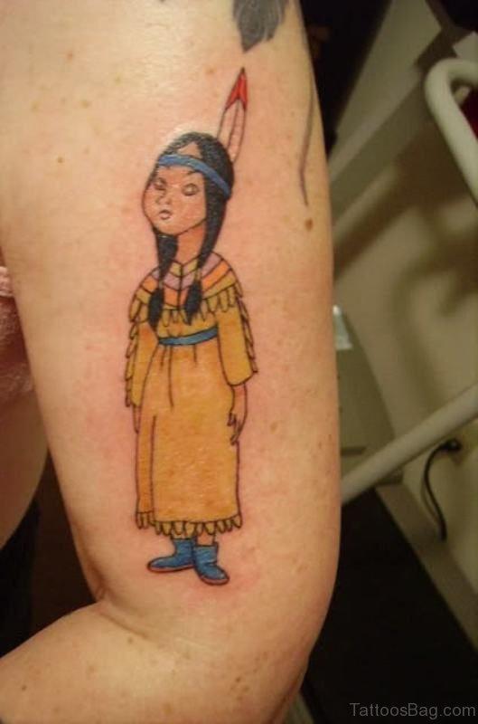 Lovely Native Girl Tattoo