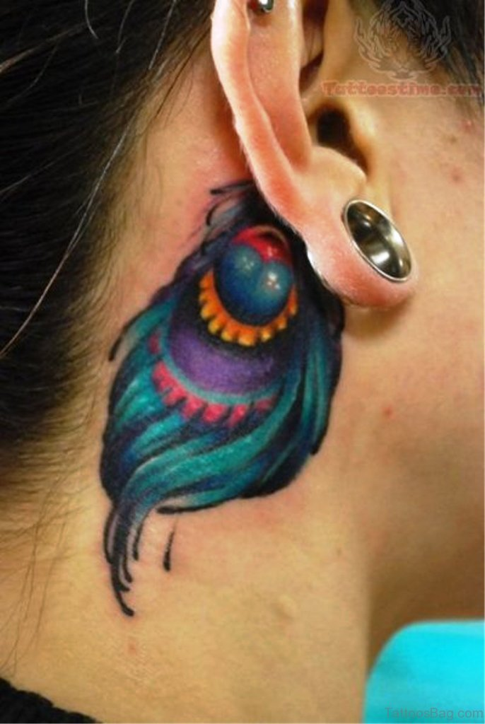 14 lovely peacock neck tattoos for Peacock feathers tattoos