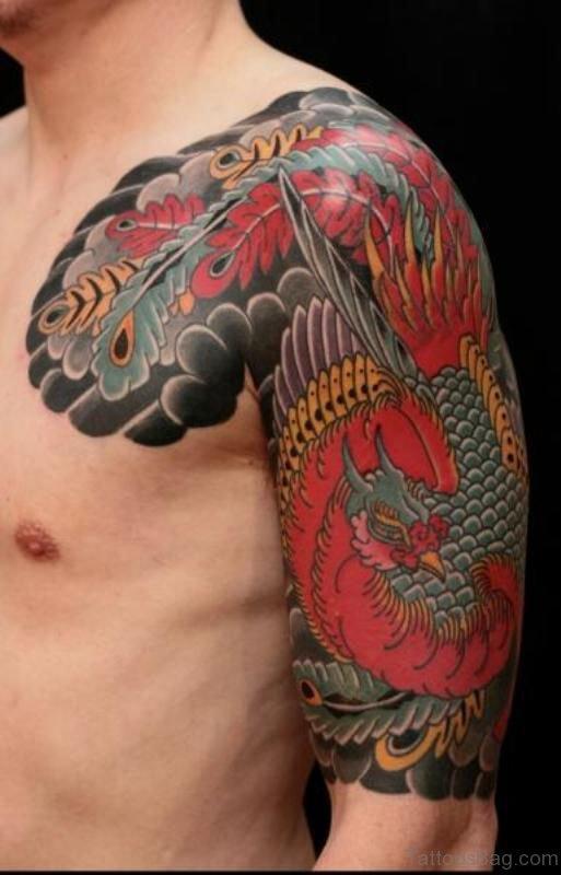 Lovely Phoenix Shoulder Tattoo Design