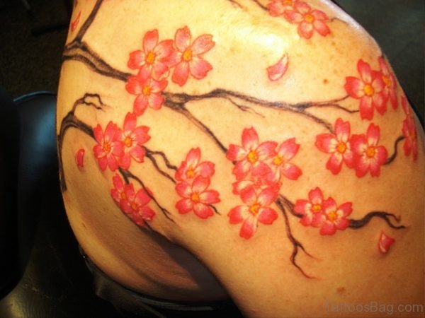 Lovely Red Color Cherry Blossom Tattoo Design
