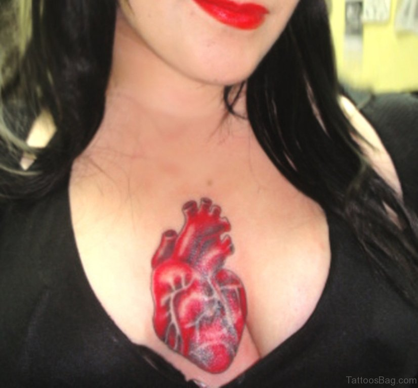 81 mind blowing heart tattoos on chest. Black Bedroom Furniture Sets. Home Design Ideas